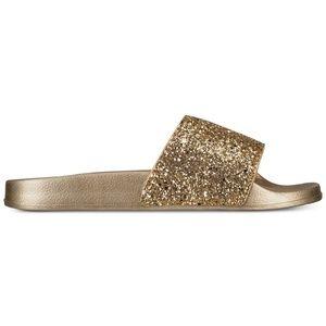 INC Glitter Pool Slides Slippers Gold